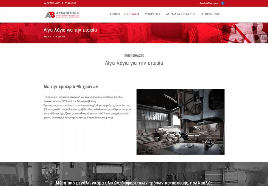 κατασκευη εταιρικής ιστοσελίδας επίπλων